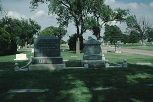 Primary view of object titled '[Llano Cemetery, (husband & wife monument, wife on bottom)]'.