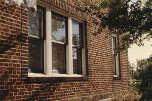 Primary view of object titled '[Lewis Apartment Building, (window & brick detail)]'.