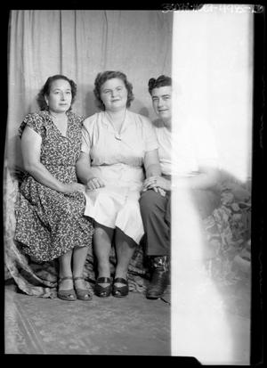 Primary view of object titled '[Portrait of Two Women and a Man]'.