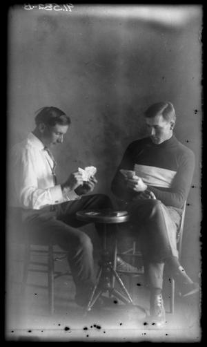 Primary view of object titled '[Portrait of Two Men Playing Cards]'.