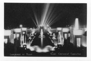 Primary view of object titled '[Esplanade at night, Texas Centennial Exposition]'.