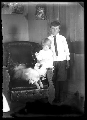 Primary view of object titled '[Portrait of Girl and Boy with Dog]'.