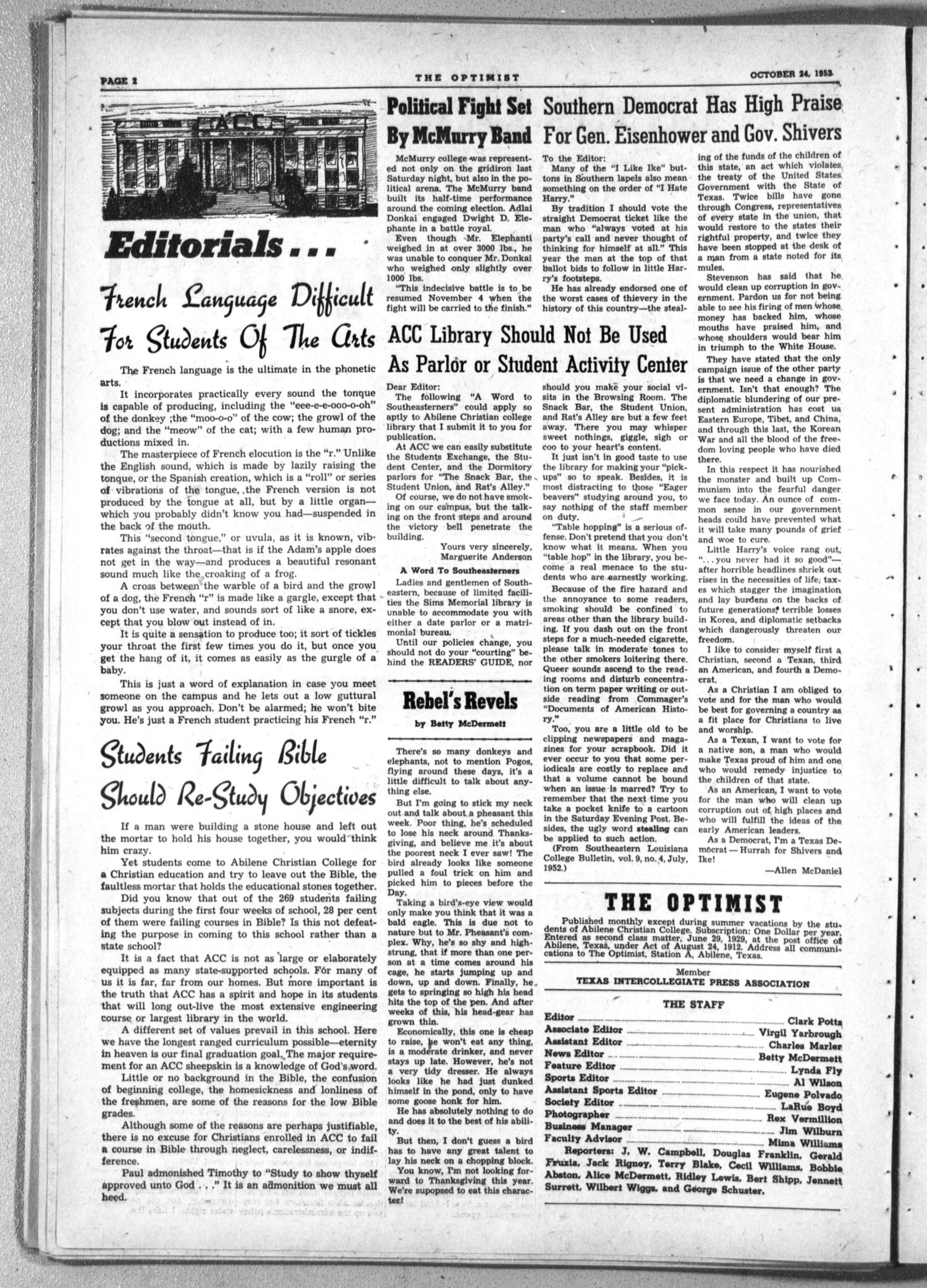 The Optimist (Abilene, Tex.), Vol. 40, No. 7, Ed. 1, Friday, October 24, 1952                                                                                                      [Sequence #]: 2 of 8