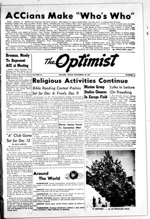 Primary view of object titled 'The Optimist (Abilene, Tex.), Vol. 45, No. 11, Ed. 1, Saturday, November 30, 1957'.