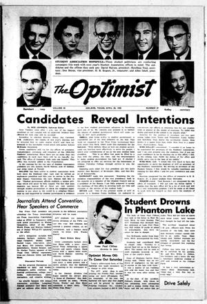 Primary view of object titled 'The Optimist (Abilene, Tex.), Vol. 45, No. 27, Ed. 1, Saturday, April 26, 1958'.