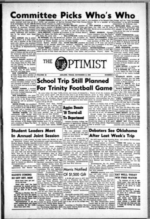 Primary view of object titled 'The Optimist (Abilene, Tex.), Vol. 46, No. 9, Ed. 1, Friday, November 14, 1958'.