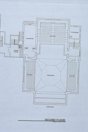 Primary view of object titled '[Univeristy Methodist Church, (2nd floor plan)]'.