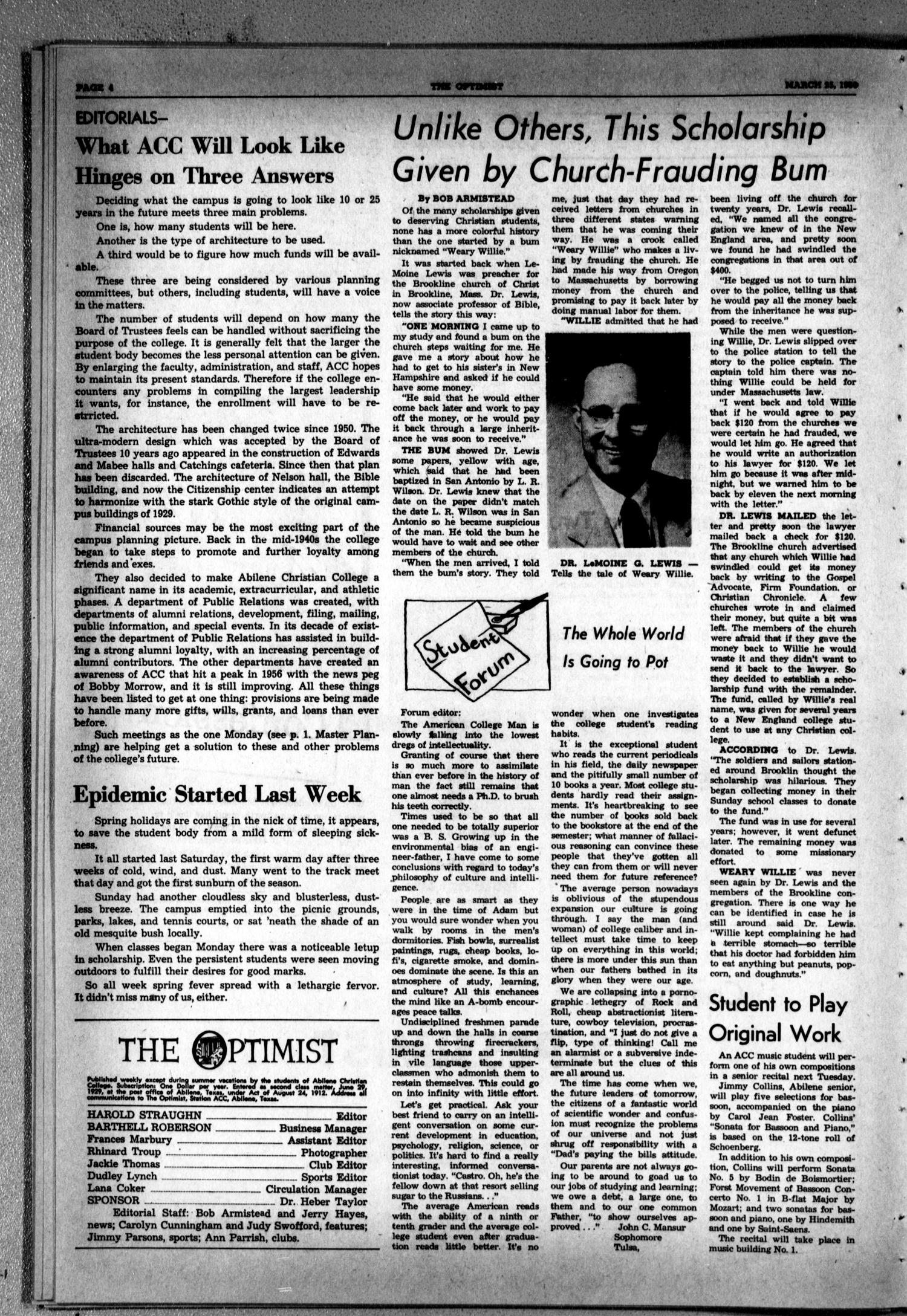 The Optimist (Abilene, Tex.), Vol. 47, No. 24, Ed. 1, Friday, March 25, 1960                                                                                                      [Sequence #]: 4 of 8