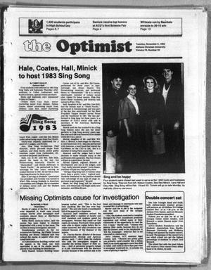Primary view of object titled 'The Optimist (Abilene, Tex.), Vol. 70, No. 20, Ed. 1, Tuesday, November 9, 1982'.