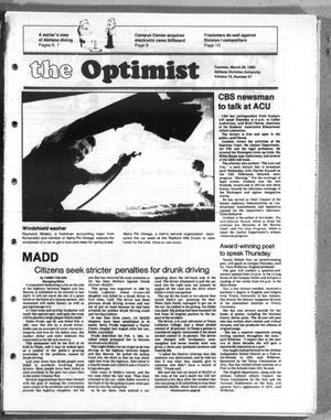 Primary view of object titled 'The Optimist (Abilene, Tex.), Vol. 70, No. 47, Ed. 1, Tuesday, March 29, 1983'.