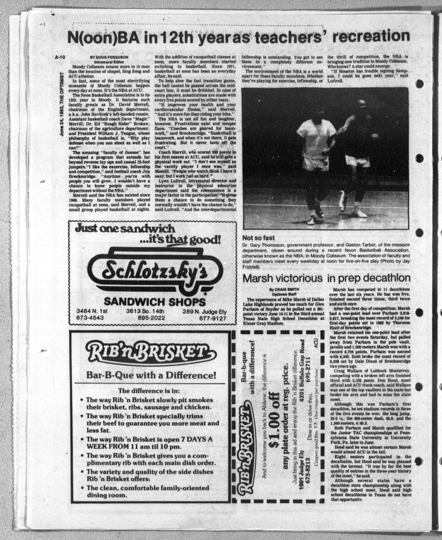 The Optimist (Abilene, Tex.), Vol. 70, No. 59, Ed. 1, Friday, June 24, 1983                                                                                                      [Sequence #]: 9 of 11