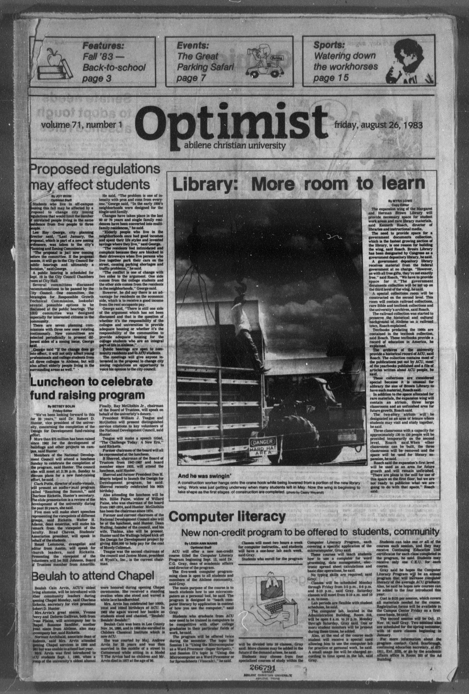 The Optimist (Abilene, Tex.), Vol. 71, No. 1, Ed. 1, Friday, August 26, 1983                                                                                                      [Sequence #]: 1 of 16