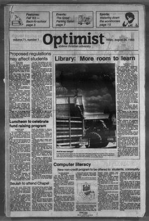 The Optimist (Abilene, Tex.), Vol. 71, No. 1, Ed. 1, Friday, August 26, 1983