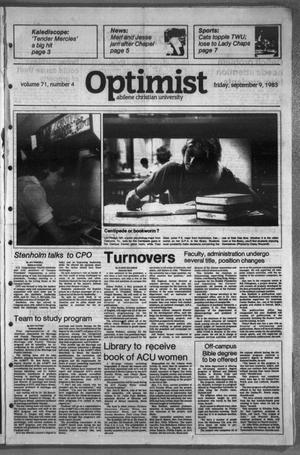 Primary view of object titled 'The Optimist (Abilene, Tex.), Vol. 71, No. 4, Ed. 1, Friday, September 9, 1983'.