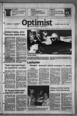 Primary view of object titled 'The Optimist (Abilene, Tex.), Vol. 71, No. 7, Ed. 1, Tuesday, September 20, 1983'.
