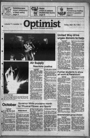Primary view of object titled 'The Optimist (Abilene, Tex.), Vol. 71, No. 10, Ed. 1, Friday, September 30, 1983'.