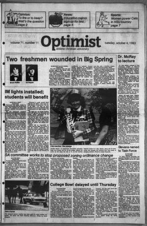 Primary view of object titled 'The Optimist (Abilene, Tex.), Vol. 71, No. 11, Ed. 1, Tuesday, October 4, 1983'.