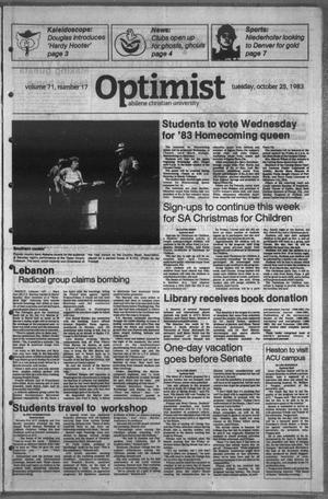 Primary view of object titled 'The Optimist (Abilene, Tex.), Vol. 71, No. 17, Ed. 1, Tuesday, October 25, 1983'.
