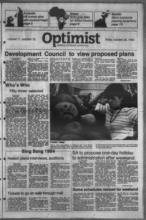 Primary view of object titled 'The Optimist (Abilene, Tex.), Vol. 71, No. 18, Ed. 1, Friday, October 28, 1983'.