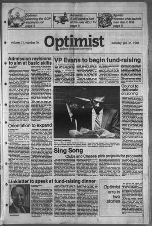 Primary view of object titled 'The Optimist (Abilene, Tex.), Vol. 71, No. 34, Ed. 1, Tuesday, January 31, 1984'.