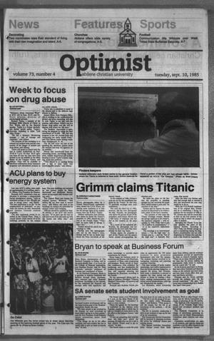 The Optimist (Abilene, Tex.), Vol. 73, No. 4, Ed. 1, Tuesday, September 10, 1985