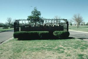 Primary view of object titled '[Llano Cemetery, (mausoleum)]'.