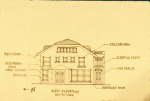 Primary view of object titled '[Schmedes K & M, (west elevation drawing)]'.