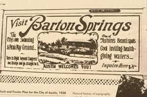 Primary view of object titled '[Barton Springs Bathouse, (1920 bathouse advertisement)]'.
