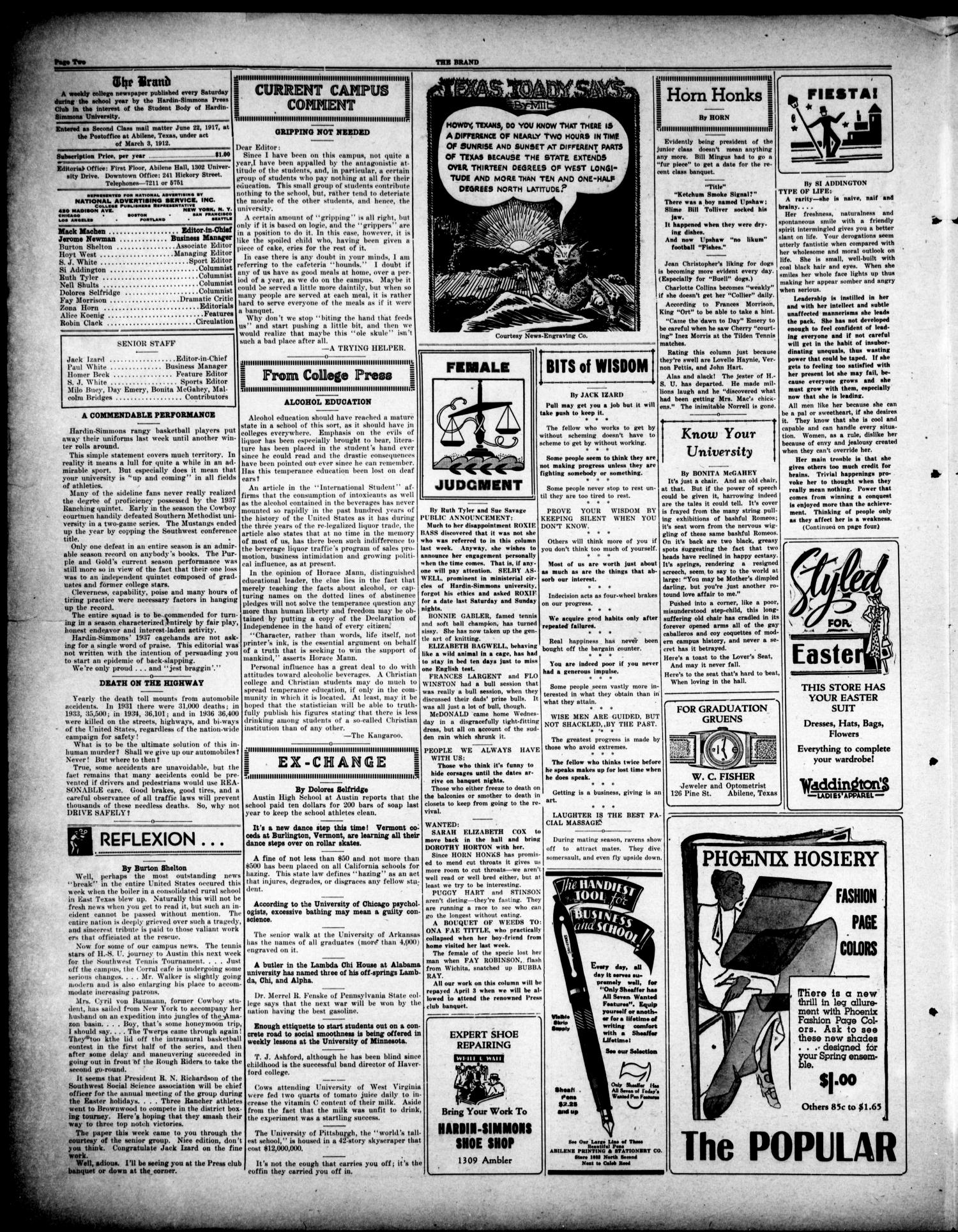 The Brand (Abilene, Tex.), Vol. 21, No. 24, Ed. 1, Saturday, March 20, 1937                                                                                                      [Sequence #]: 2 of 4