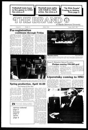 Primary view of object titled 'The Brand of Hardin-Simmons University (Abilene, Tex.), Vol. 72, No. 13, Ed. 1, Tuesday, April 9, 1985'.