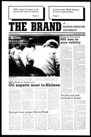 Primary view of object titled 'The Brand of Hardin-Simmons University (Abilene, Tex.), Vol. 73, No. 12, Ed. 1, Monday, April 14, 1986'.