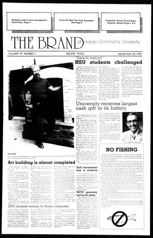 Primary view of object titled 'The Brand of Hardin-Simmons University (Abilene, Tex.), Vol. 74, No. 1, Ed. 1, Thursday, September 25, 1986'.