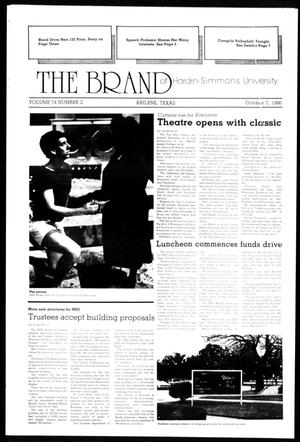 Primary view of object titled 'The Brand of Hardin-Simmons University (Abilene, Tex.), Vol. 74, No. 2, Ed. 1, Tuesday, October 7, 1986'.