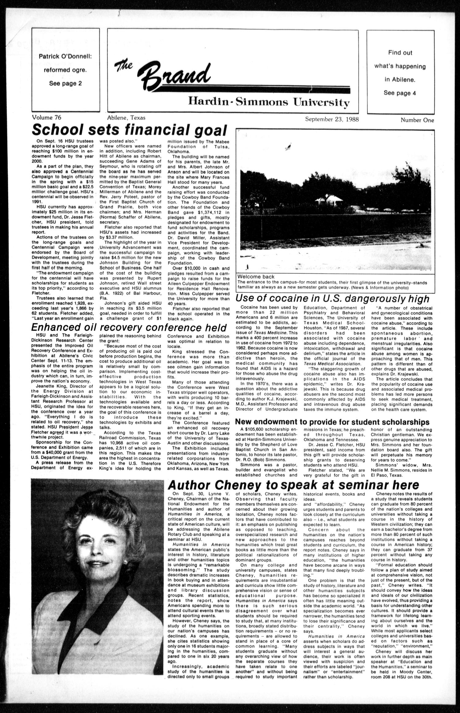 The Brand (Abilene, Tex.), Vol. 76, No. 1, Ed. 1, Friday, September 23, 1988                                                                                                      [Sequence #]: 1 of 6