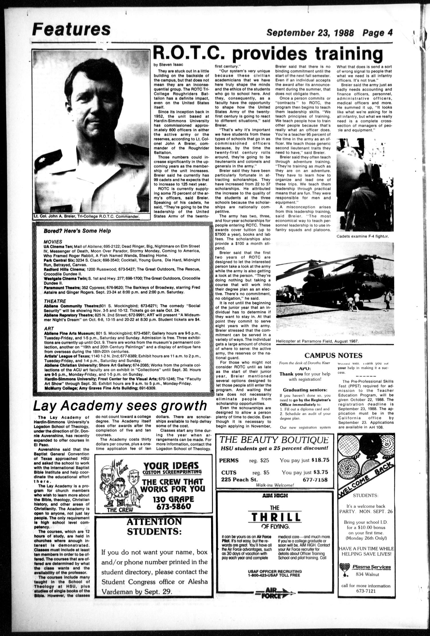 The Brand (Abilene, Tex.), Vol. 76, No. 1, Ed. 1, Friday, September 23, 1988                                                                                                      [Sequence #]: 4 of 6