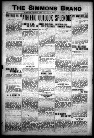 The Simmons Brand (Abilene, Tex.), Vol. 1, No. 2, Ed. 1, Friday, October 20, 1916