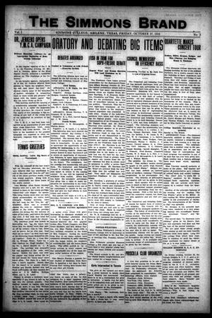 The Simmons Brand (Abilene, Tex.), Vol. 1, No. 3, Ed. 1, Friday, October 27, 1916