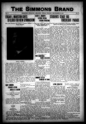 The Simmons Brand (Abilene, Tex.), Vol. 1, No. 9, Ed. 1, Friday, December 8, 1916