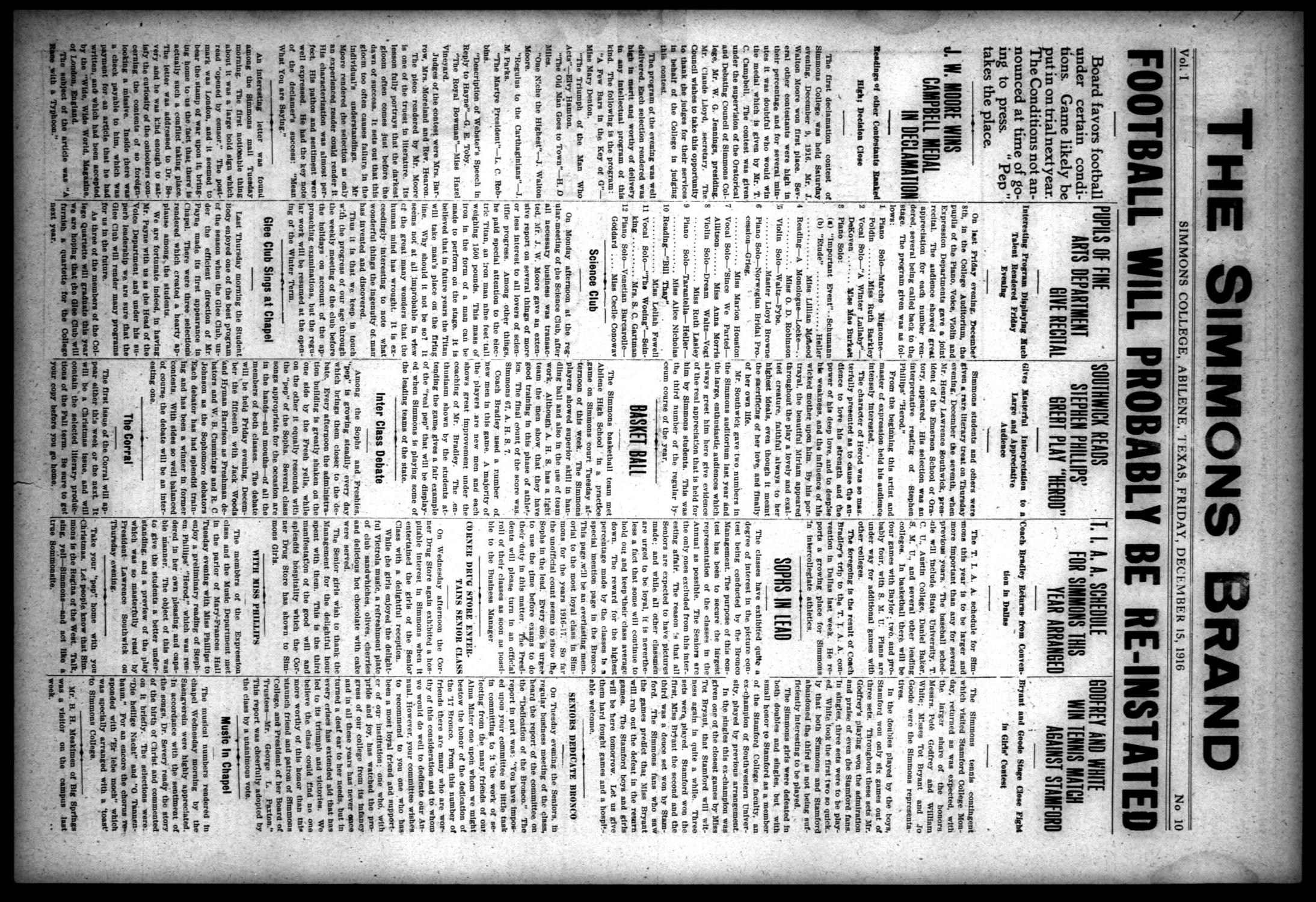 The Simmons Brand (Abilene, Tex.), Vol. 1, No. 10, Ed. 1, Friday, December 15, 1916                                                                                                      [Sequence #]: 1 of 4