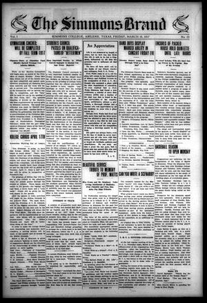 The Simmons Brand (Abilene, Tex.), Vol. 1, No. 22, Ed. 1, Friday, March 16, 1917