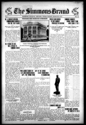 The Simmons Brand (Abilene, Tex.), Vol. 1, No. 24, Ed. 1, Friday, March 30, 1917