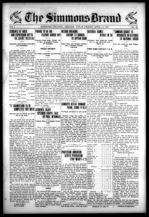The Simmons Brand (Abilene, Tex.), Vol. 1, No. 26, Ed. 1, Friday, April 13, 1917