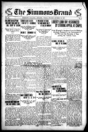 The Simmons Brand (Abilene, Tex.), Vol. 2, No. 6, Ed. 1, Friday, October 26, 1917