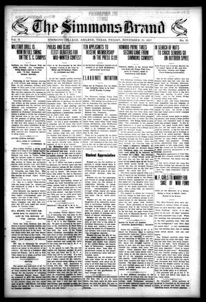 The Simmons Brand (Abilene, Tex.), Vol. 2, No. 10, Ed. 1, Friday, November 23, 1917