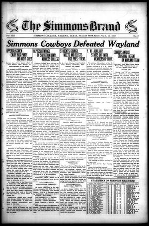 The Simmons Brand (Abilene, Tex.), Vol. 4, No. 2, Ed. 1, Friday, October 10, 1919