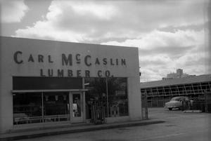 Primary view of object titled '[Exterior of the Carl McCaslin Lumber Company]'.