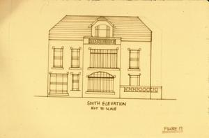 Primary view of object titled '[Schmedes K & M, (south elevation drawing)]'.