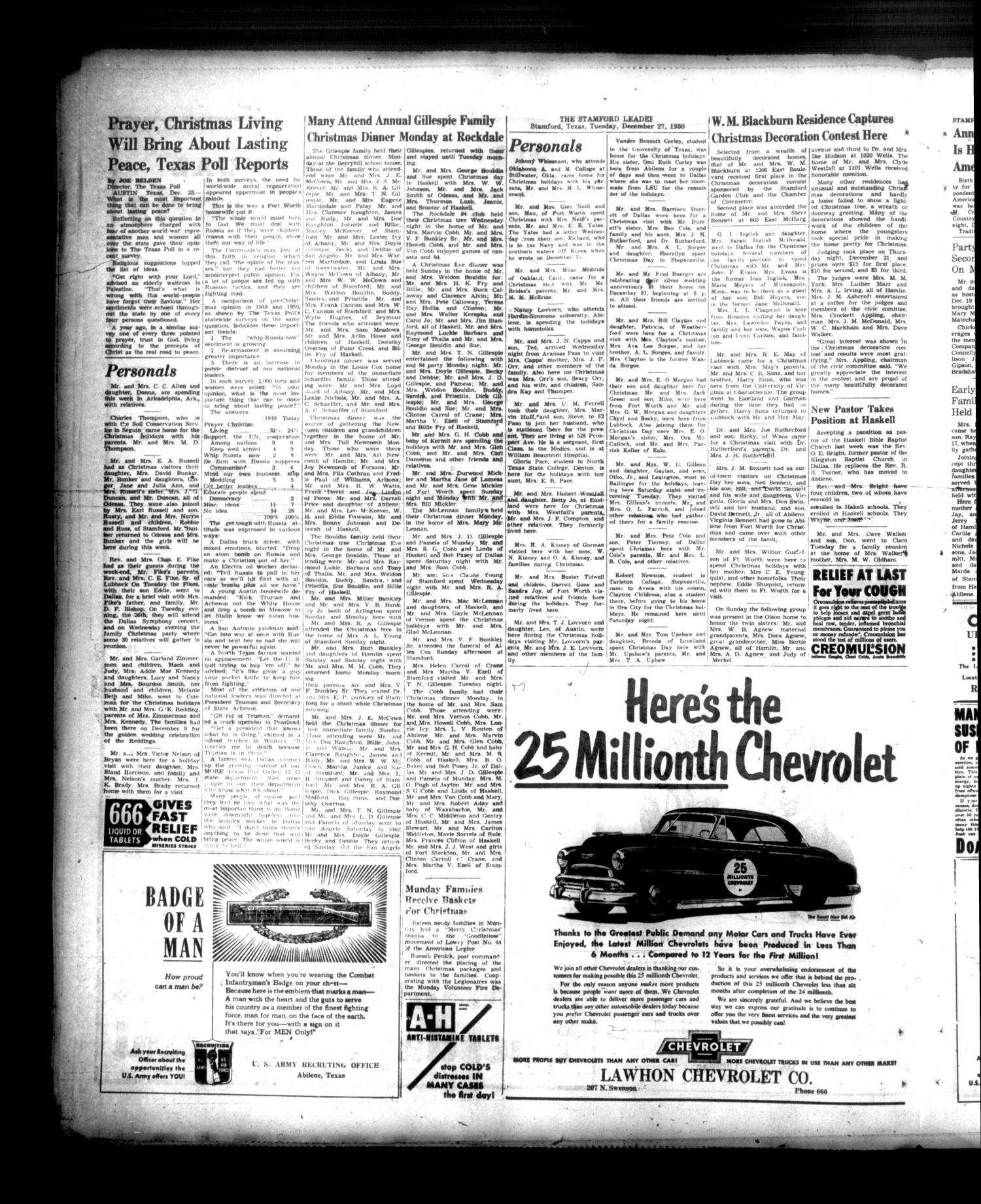 Stamford American (Stamford, Tex.), Vol. 27, No. 42, Ed. 1 Friday, December 29, 1950                                                                                                      [Sequence #]: 4 of 8