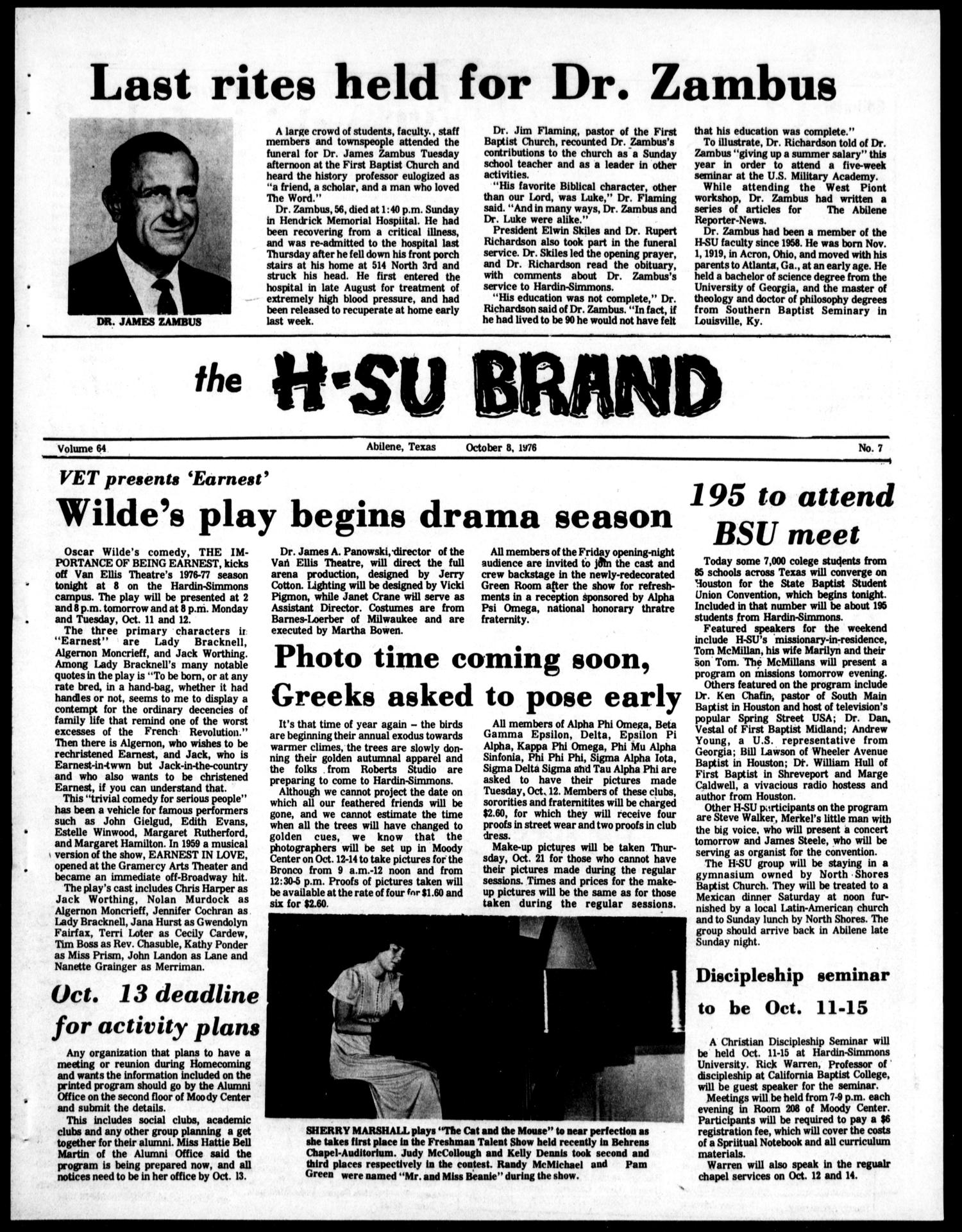 The H-SU Brand (Abilene, Tex.), Vol. 64, No. 7, Ed. 1, Friday, October 8, 1976                                                                                                      [Sequence #]: 1 of 4