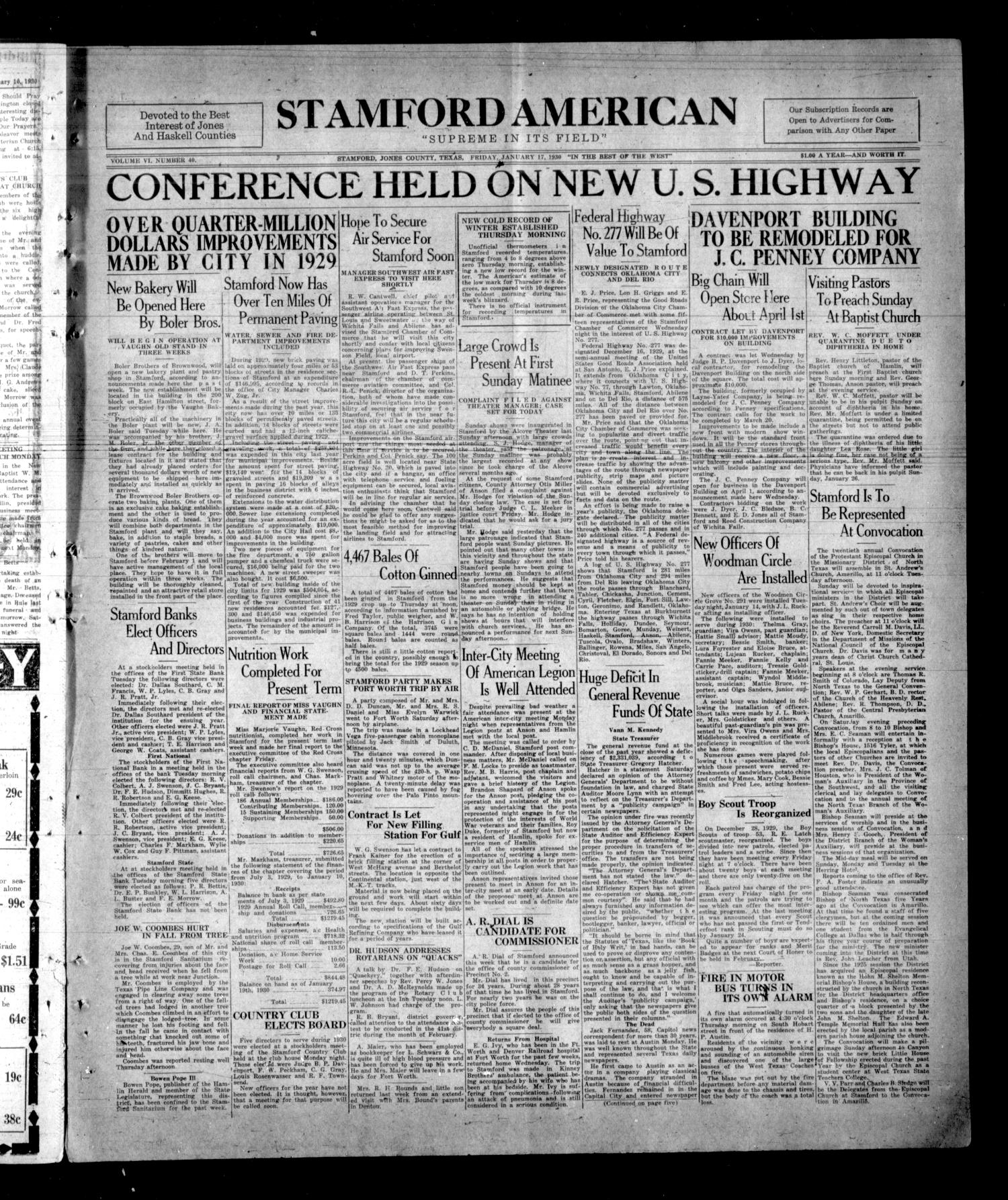 Stamford American (Stamford, Tex.), Vol. 6, No. 40, Ed. 1 Friday, January 17, 1930                                                                                                      [Sequence #]: 1 of 8